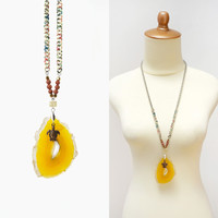 Mustard Yellow Big Agate Stone Slice Necklace with Turtle Charm