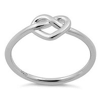 Infinity Heart Sterling Silver Ring, Endless Heart Ring