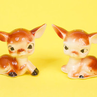 Vintage Deer Fawn Salt and Pepper Shakers Cute and Kitsch