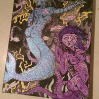 Sparkly nude mermaid babes painting // super glittery
