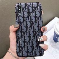 Dior Tide brand D letter print female iPhone XS Max hard shell leather phone case Grey