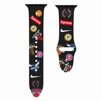 NBA Sports Team Silicon Apple Watch Band - Black