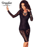 Lace Sexy Club Dress Black Knee Length Night Party Dresses Hollow Out Short Long Sleeve Midi Dress Bodycon