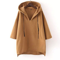 Pure Color Loose Casual Hoodie Oversize Sweatshirts