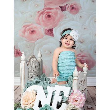 Pink And Ivory Rose Pattern Backdrop - 6152