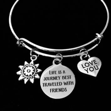 Life is a Journey Best Traveled With Friends Expandable Charm Bracelet Silver Adjustable Silver Wire Bangle Gift