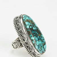 Urban Outfitters - Adorn By Sarah Lewis Large Turquoise Filigree Ring