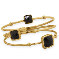 Three Row Gold Plated Stainless Steel Bangle with Black Faceted Glass