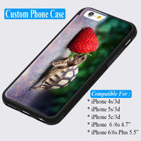 Baby Turtle Eating Strawberry Custom iPhone cases 4/4s 5/5s 6/ 6s