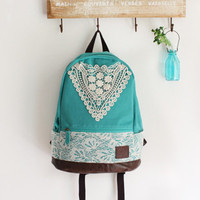 triangle lace canvas female fresh backpack-blue-EMS from ClothLess