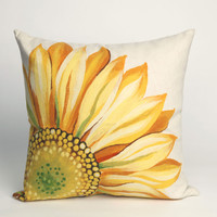 """Sunflower Yellow 20"""" Square Indoor Outdoor Pillow"""