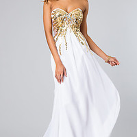 Long Strapless Open Back Gown by Alyce Paris