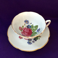 Vintage Tea Cup and Saucer Royal Grafton, Blue Tea Cup, High Tea, Wedding Gift, Bridal Shower Tea Party