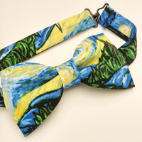 Starry Night Bow Tie • Art Bowtie • Gifts For Guys• Geekery Mens Fashion • Pre-Tied Bow Tie • Novelty Bow Tie • Van Gogh gift• Museum Bowtie