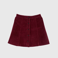 Corduroy Button Front Mini Skirt