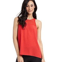 Sam Edelman Sheer-Neck Crepe Tank - Flame