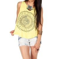 Soft Yellow/Black Sleeveless Screen Tee