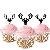 6 pcs in one set deer antler Cake toppers for party decor, cupcake toppers acrylic,  topper for birthday, kids birthday cake decor