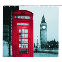 Red Telephone Shower Curtains