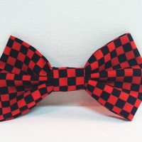 Black and Red Checkered Fabric Hair Bow from Kute As a Button Shop