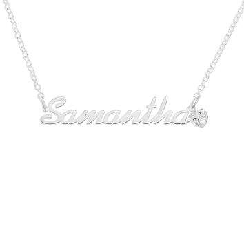 NAME NECKLACE WITH HEART-SHAPED BIRTHSTONE - STERLING SILVER