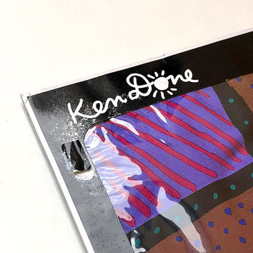 KEN DONE!!! Vintage 1980s 'Ken Done' colourful silk scarf with abstract dot and dash grid design / Deadstock with box / Made in Japan