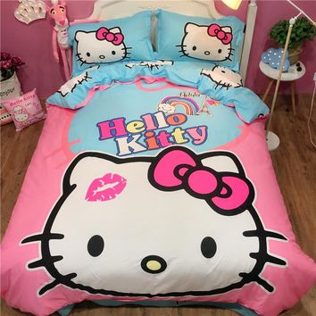 100% cotton Sweet lovely hello kitty bedding sets twin queen king size cat pink duvet cover bed flat sheet pillowcase bedclothes