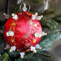 Christmas Ornament, Red Ball with Gold Accents in Gift Box, Handmade Fabric Tree Decoration, Holiday Decor, Boxed Wrapped Present Hostess