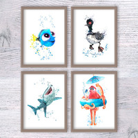 Finding Dory watercolor print Set of 4 Finding Dory posters Disney watercolor decor Baby shower gift Nursery room decor Kids room decor V109