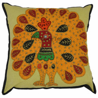 Indian Embroidered Cushion Cover Ethnic Patchwork Peacock Pillow Case Throw 0014