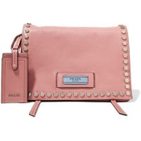 Prada - Etiquette small studded leather shoulder bag