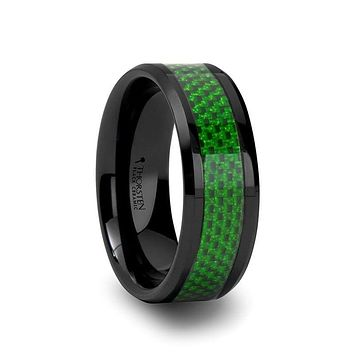 BUNIM Men's Black Ceramic Ring With Emerald Green Carbon Fiber Inlay - 8mm