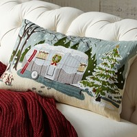CAMPER EMBROIDERED LUMBAR PILLOW COVER