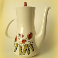 Mid Century Poole Pottery Coffee Pot Lucullus Design Set of 4