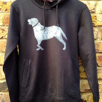 Labrador hoodie black - low CO2, organic cotton, fairly traded, hand printed