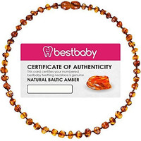 Best Baby Premium Baltic Amber Teething Necklace (Unisex) (Certified) 100% Pure Amber and Hand Made - Anti-Inflammatory, Drooling Reduction, Pain Relieving - Customer Satisfaction Guaranteed