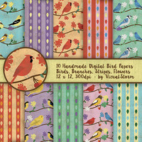 Song Bird Digital Paper Printable Spring Birds on Branches With Flowers Leaves Nature Background Patterns Songbird Animal Scrapbooking Paper