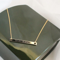 Engravable Bar Necklace, Roman Numerals, Greek Letters, Dates and Numbers, Sorority Jewelry, Wedding