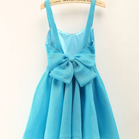 Sleeveless Backless Back Bow Mini Skater Dress