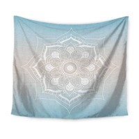 Blue Tan Gradient Mandala Tapestry