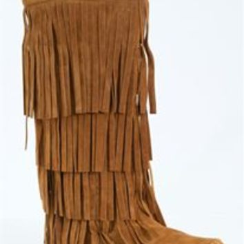 AXNY Fringed Moccasin Boots in Cognac MUDD-55-COGNAC