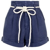 High-Waisted Paperbag Shorts - Navy Blue