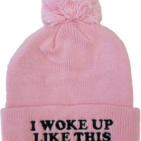 Woke Up Like This Beanie - Pink