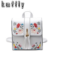 KMFFLY High Quality PU Embroidery Backpack School Bags For Teenagers Casual Black Trave Backpack Women Mochila Sac A Dos Femme