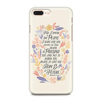 Jeremiah 29:11 Phone Case - Floral Phone Case - Hope and a Future - Scripture Phone Case - Graduation Gift - iPhone 8 - Galaxy S9