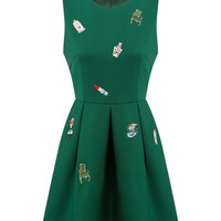 Green Embroidery Sleeveless Pleated Dress