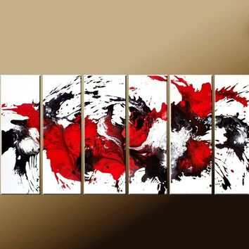Custom MADE TO ORDER - Abstract Canvas Art Huge 6pc 60x30 Commissioned Fine Art Painting by Destiny Womack - dWo