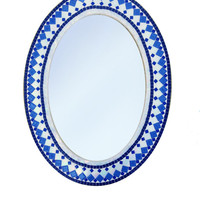 Blue and White Oval Mosaic Wall Mirror / Geometric Mirror / Large Decorative Mirror / Glass Mirror