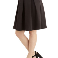 ModCloth 50s Mid-length High Waist Emphasize the Adorable Skirt in Black