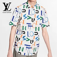 LV Louis Vuitton Fashion Men Women Casual Print Short Sleeve Shirt Top Blouse